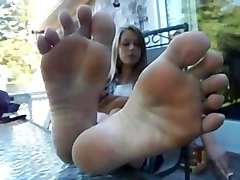 Footjob, Teen giving footjob and getting anal, Xhamster.com