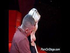 Blonde, Reluctant strip on stage, Xhamster.com