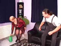 Granny, German, Threesome, Threesome stockings office, Drtuber.com