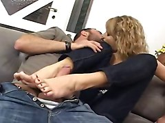 Footjob, Footjob with two girls, Xhamster.com