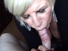 Granny, Blonde, Blowjob, Handcuff blowjob, Xhamster.com