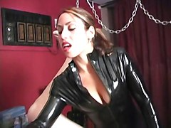 Latex, Strapon, Strapon mistress and bound slave, Xhamster.com
