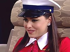 Lesbian, Stewardess, Hot stewardess get drilled by two, Xhamster.com