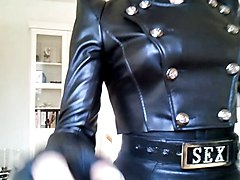 Leather, Dominatrix in leather gag a slave, Xhamster.com