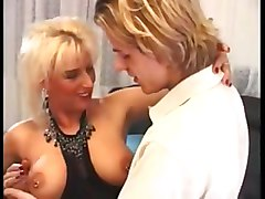 Blonde, German, Milf, Young maid with black stockings make love, Xhamster.com