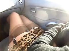 Car, Stockings, Black thigh high stockings, Xhamster.com