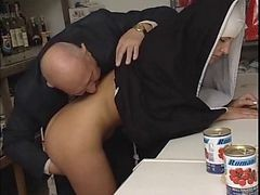 Nun, Old Man, Clean the toilet, Xhamster.com