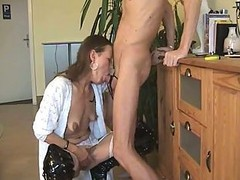 Deepthroat, Wife, German, German mature in leather, Xhamster.com