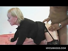 Blonde, Bukkake, Stockings, Japanese girl in stocking 60-2, Nuvid.com