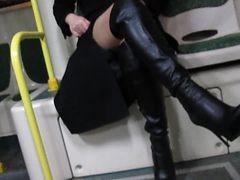 Bus, Boots, Black, Wife amp girls in stocking, Xhamster.com