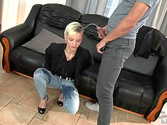Blonde, Jeans, Short Hair, Anyporn.com