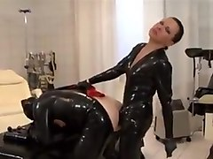 Latex, Strapon, Male slave with strapon, Txxx.com