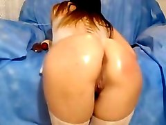 Oil, Ass, Dildo, Redhead fucked in public bathroom stal, Xhamster.com