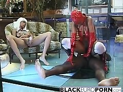 Black, Latex, Slave, Two slave for mistress, Nuvid.com