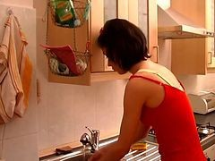 Kitchen, Milf, Hairy screaming milf fucked amp fisted by 2, Xhamster.com