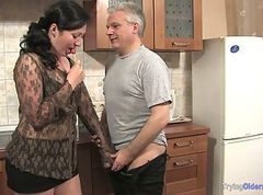 Kitchen, Teen chick seduces mom and dad, Drtuber.com