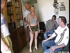 Blonde, French, Gangbang, Gangbanged in front of hubby, Xhamster.com