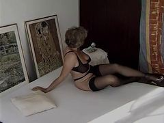 Granny, Black, Stockings, Sexy short hair teacher in stockings, Xhamster.com