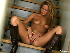 Boots, Babe, Leather, Blonde boots, Redtube.com