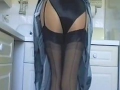 Black, Kitchen, Satin, Bubble butt sabrina milf, Xhamster.com